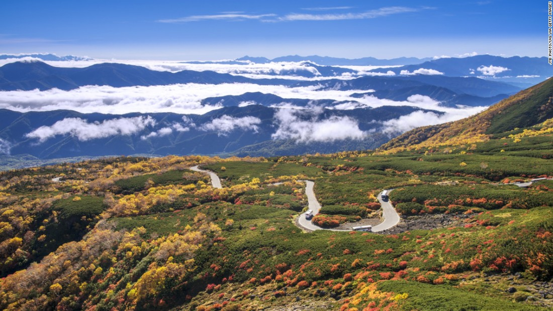 A pass snakes up Mount Norikura, the third tallest volcano in Japan after Mount Fuji and Mount Ontake.
