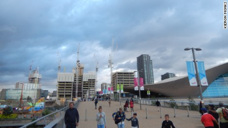 Construction around the Olympic Park, with the Aquatics Center on the right.