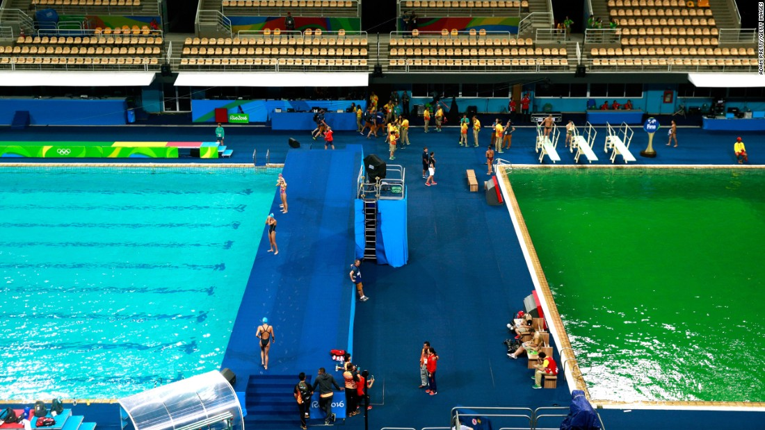 "The diving pool, right, <a href=""http://www.cnn.com/2016/08/09/sport/rio-olympics-green-pool/"" target=""_blank"">had turned from blue to green</a> since Monday. The cause is still under investigation, but water tests showed there were no health risks, Rio organizers said."