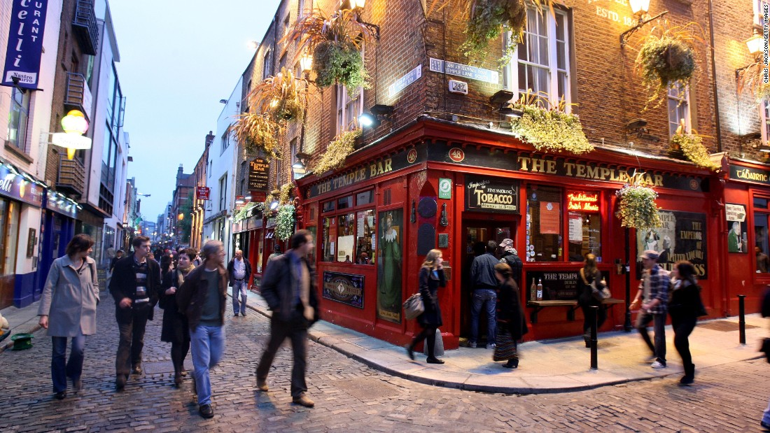 """The Irish capital was voted third-friendliest by Conde Nast Traveler's readers, with one visitor saying, """"We had best recommendations on where to go and what to see from the locals... better than any guide book."""" The Temple Bar pub, in the Temple Bar nightlife district, is popular with tourists."""