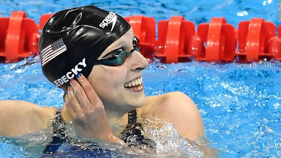 American Katie Ledecky smiles after winning the 200-meter freestyle. It is her second gold in the Rio Games. She also won the 400-meter freestyle.