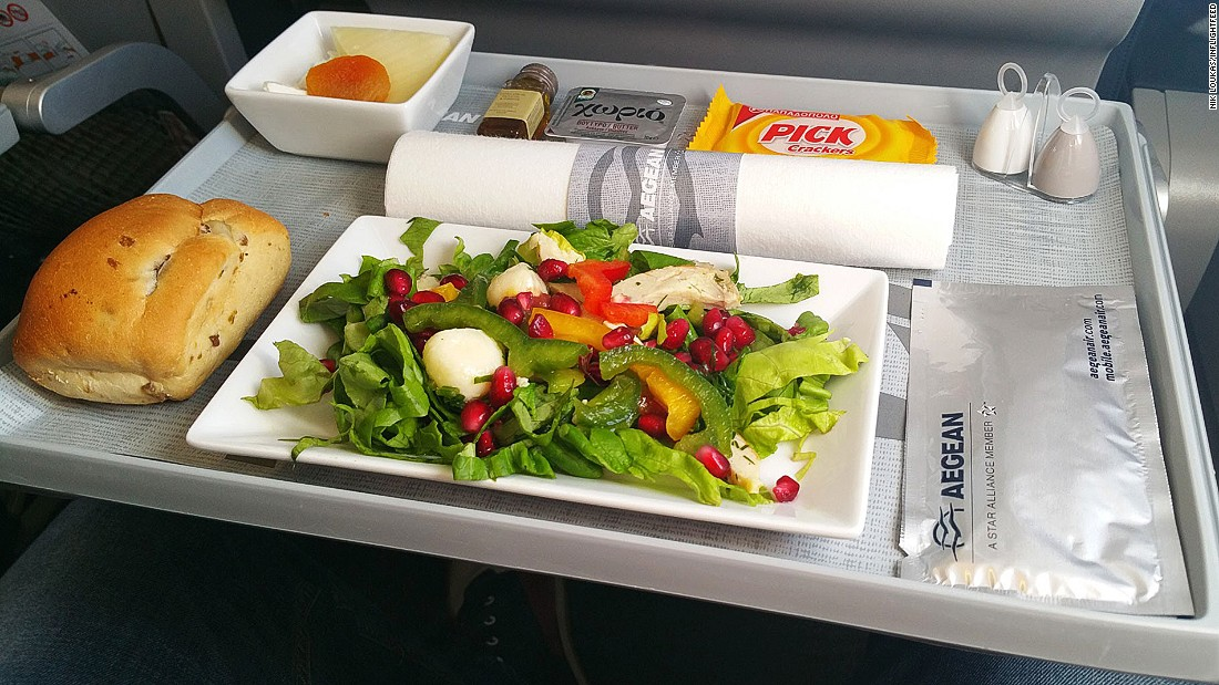 "Greece's carrier Aegean offers fliers a great mid-air introduction to its cuisine. ""It's like a taste of Greece every time you step on board one of their flights. It's a great ambassador for Greek food and products in-flight,"" says Loukas."