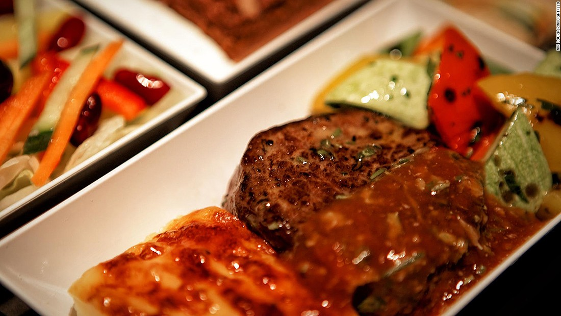 "Here, courtesy of Pegasus, is one of the best steaks Loukas has tried on a plane. The Inflightfeed founder says, ""Who would have thought that low-cost airline meals could be so good? You pay for it, of course, but the quality was far better than some business-class meals I've eaten."""