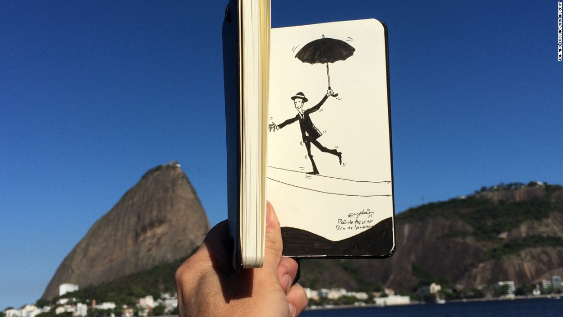 Euzebio made a tightrope walker teeter near Sugarloaf Mountan in Rio de Janiero.