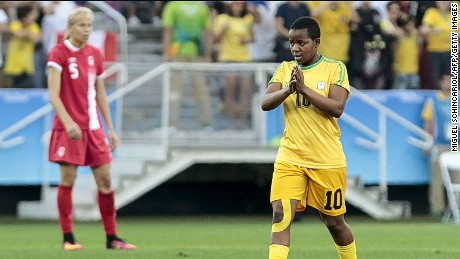 Mavis Chirandu of Zimbabwe celebrates her goal against Canada on Saturday in the Olympics.