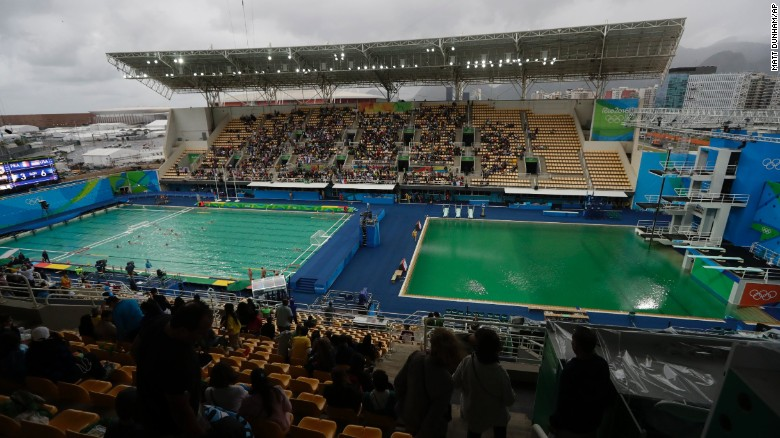 The Water Of The Diving Pool At Right Appears A Murky Green As The Water  Polo