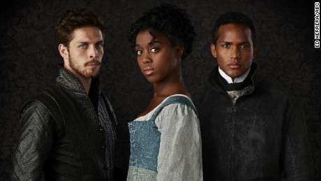 "Wade Briggs stars as Benvolio, Lashana Lynch as Rosaline and Sterling Sulieman as Prince Escalus in ABC's ""Still Star-Crossed."""