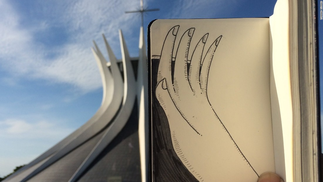 The Cathedral of Brasilia got a high five -- and a nice manicure -- in this photo.