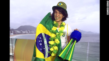 Here's the full Brazilian fandom effect. I'm decked out from head to toe in green and yellow for Rio 2016.