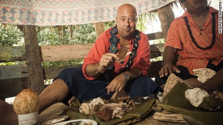 Dining with Samoan tribespeople is Andrew Zimmern's unique food memory.