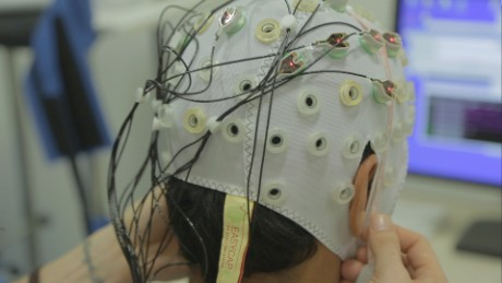 The patients were fitted with caps lined with electrodes that recorded their brain activity.