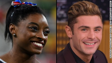 Simone Biles really likes actor Zac Efron.