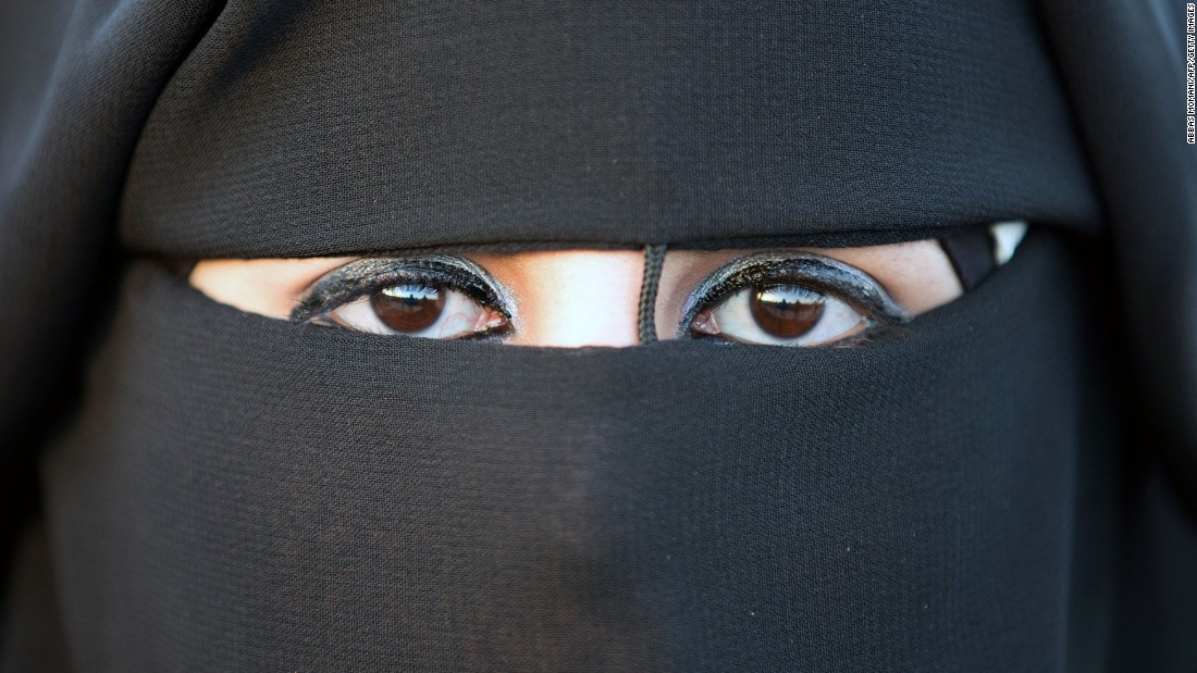 <strong>Niqab: </strong>The full-face veil exposes only the eyes. A Palestinian bride in Jericho wears this one.