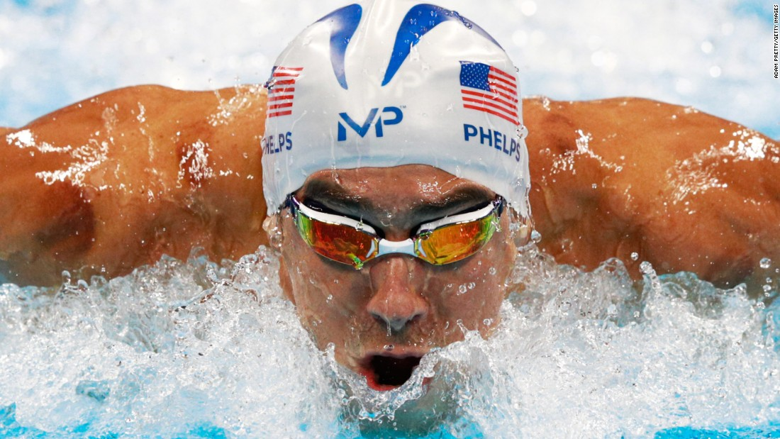 Phelps competes in the 100-meter butterfly during the Rio Games.