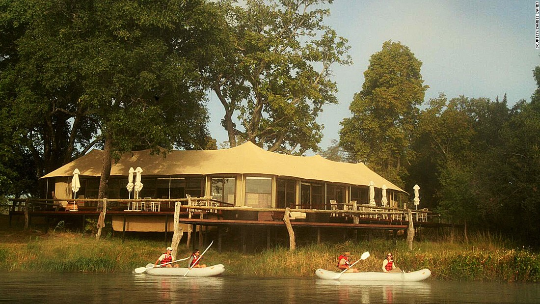 Zambezi Sands is a luxury tented camp on the banks of the river that runs kayaking tours.