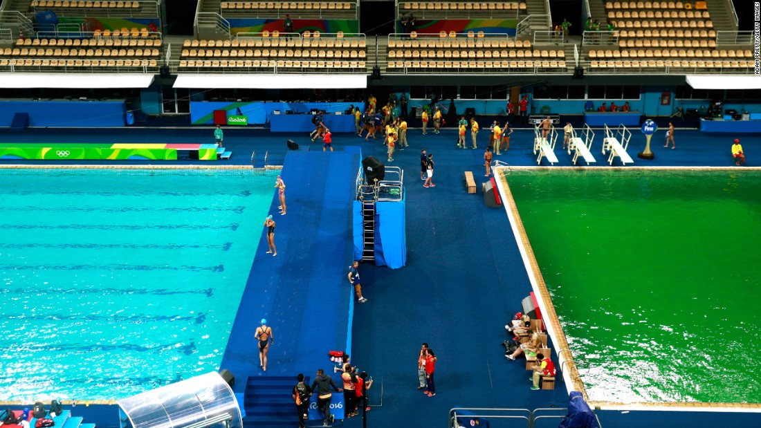 "The Olympic diving pool turned green in Rio de Janeiro on Tuesday, August 9. Officials <a href=""http://www.nytimes.com/2016/08/11/sports/olympics/green-water-pool-rio-games.html"" target=""_blank"">blamed the color change on a chemical imbalance</a> in the water, but they said there were no health risks to the athletes."