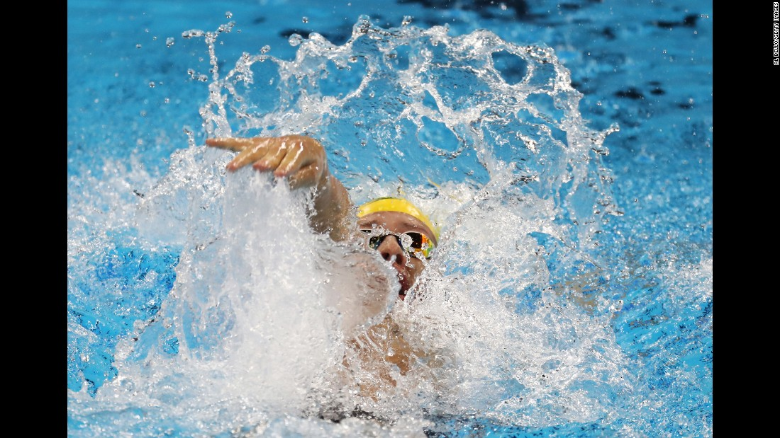 Australia's Mitch Larkin swims the 200-meter backstroke on Wednesday, August 10.