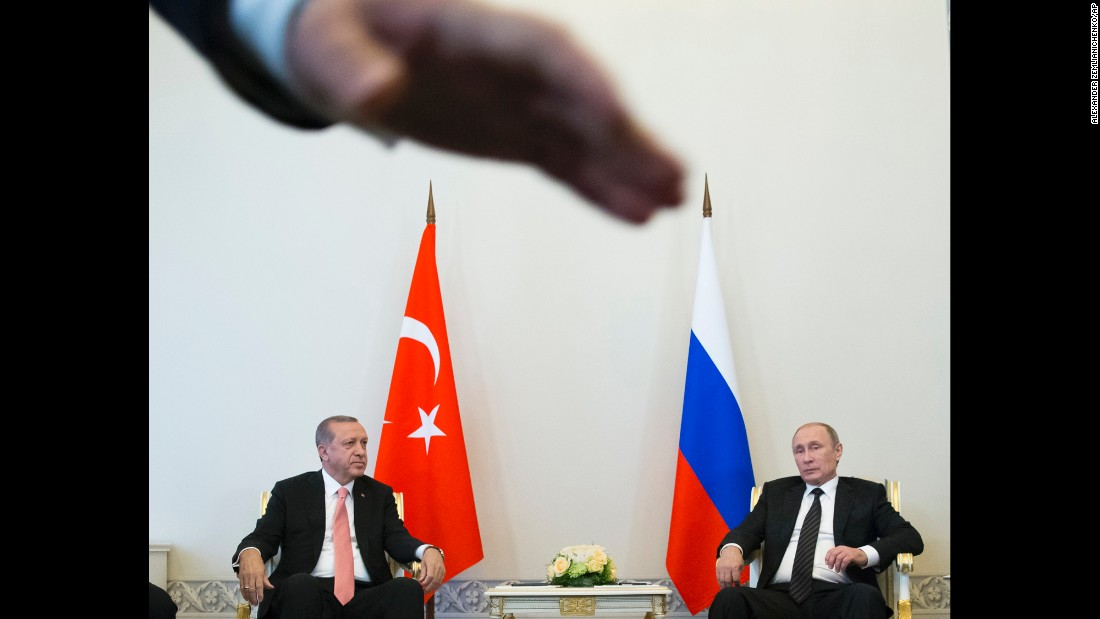 "Russian President Vladimir Putin, right, meets with Turkish President Recep Tayyip Erdogan in St. Petersburg, Russia, on Tuesday, August 9. The two leaders <a href=""http://www.cnn.com/2016/08/09/world/turkey-russia-erdogan-putin-meeting/"" target=""_blank"">announced they were restoring their bilateral relationship</a> to the levels that existed before last November, when Turkish forces shot a Russian warplane out of the sky near the Syrian border."