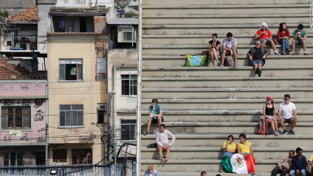 People watch Olympic archery at the Sambadrome venue, which is in a residential area of Rio de Janeiro, on Monday, August 8.