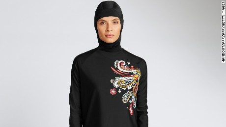 The burkini is a swimsuit worn by Muslim women that covers the entire body except for the face, hands and feet.