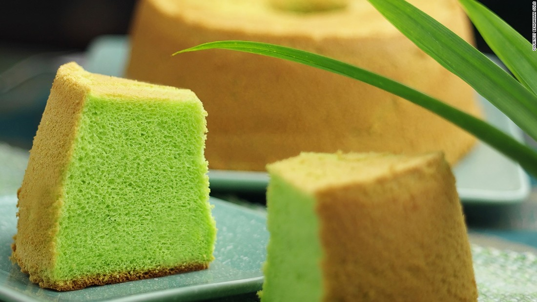 Essentially a chiffon cake, the pandan cake is infused with green-colored juice from the pandanus palm, giving it a sweet woodsy fragrance and an alarmingly radioactive hue. The cake is hugely popular in Singapore and Malaysia.