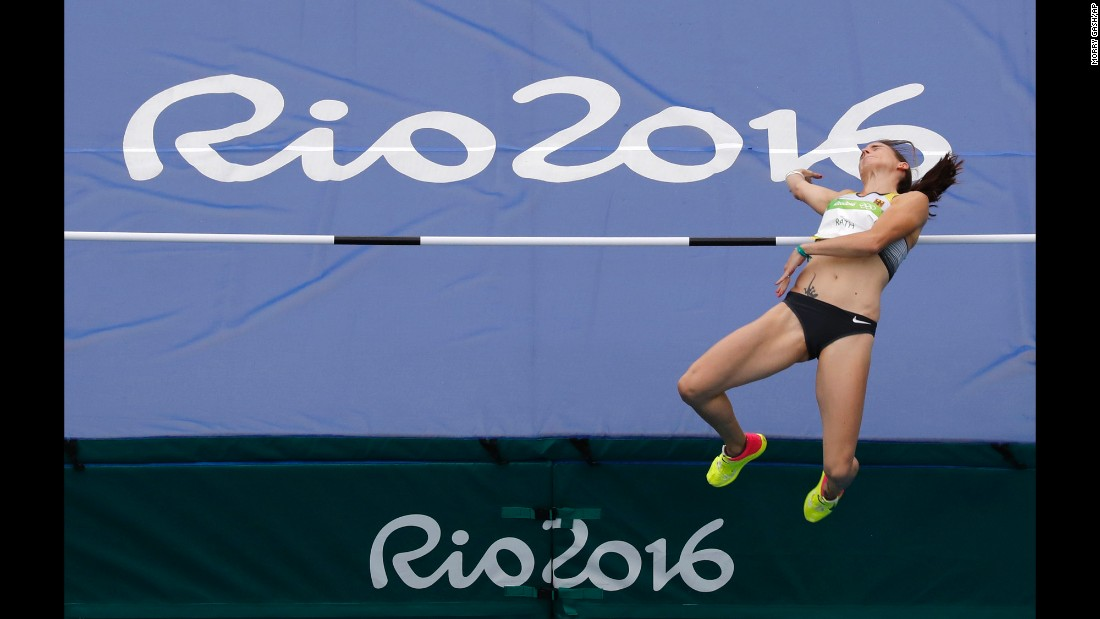 Germany's Claudia Rath competes in the high jump portion of the heptathlon.