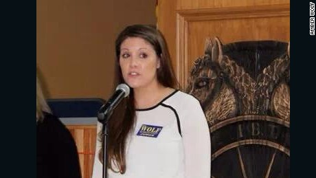 Amber Wolf speaks to a group during her election campaign in 2014.