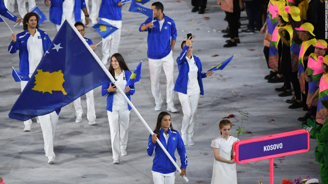 Olympic champion judoka Majlinda Kelmendi was the flag bearer for Kosovo for its inaugural walk in the Parade of Nations.
