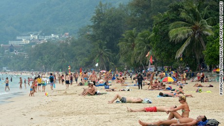 Patong beach in Phuket is one of the most popular tourist destinations in Thailand.
