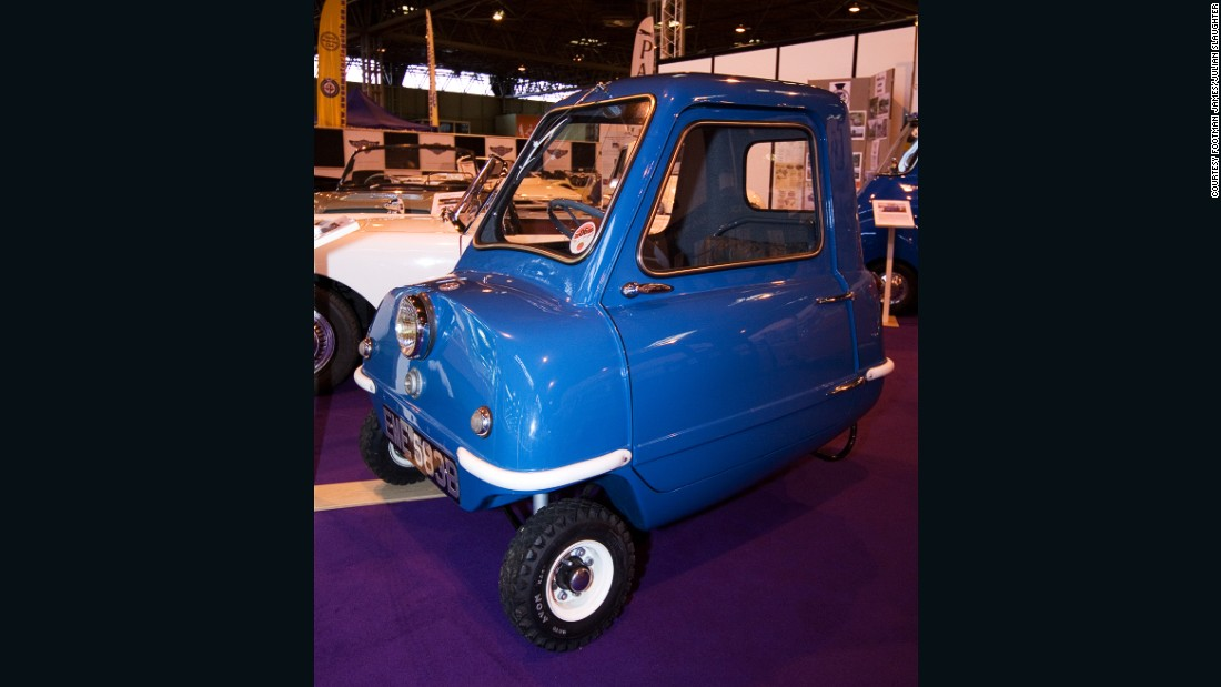 The Peel P50 holds the Guinness World Record for being the smallest production car. It is just 1.3 meters (4.3 feet) long, holds only one occupant and has no reverse gear; you pick it up and swing it around if you need to make a tight maneuver.