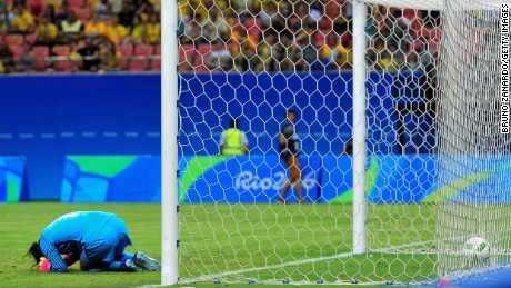 Hope Solo of the United States reacts after Angela Clavijo of Colombia scored a goal past her in the first half of the Women's Football First Round Group G match on day 4 of the Rio 2016 Olympic Gameson August 9.