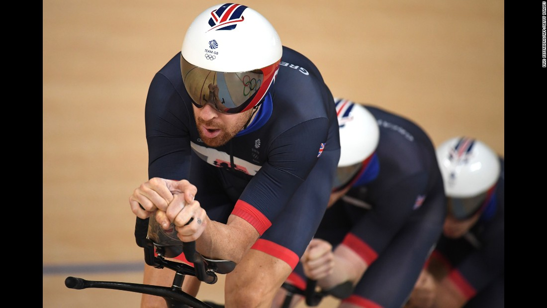"The British track cycling team set a world record on its way to winning gold in the  pursuit event. Bradley Wiggins, left, is now <a href=""http://edition.cnn.com/2016/08/12/sport/bradley-wiggins-cycling-olympics-rio-2016/index.html"" target=""_blank"">the most decorated British athlete</a> in Olympic history. He has eight medals -- five of them gold."