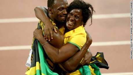 BEIJING, CHINA - AUGUST 23:  Usain Bolt of Jamaica celebrates with mother Jennifer Bolt after winning gold in the Men's 100 metres final during day two of the 15th IAAF World Athletics Championships Beijing 2015 at Beijing National Stadium on August 23, 2015 in Beijing, China.  (Photo by Michael Steele/Getty Images)