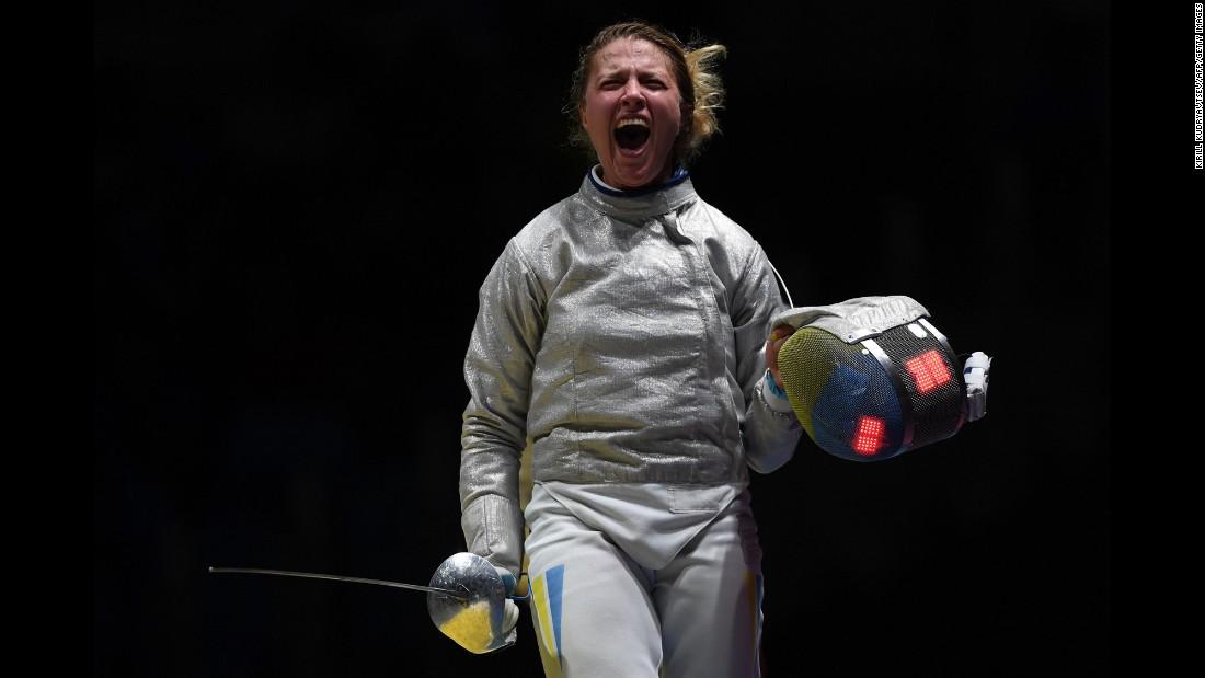 Ukraine's Olga Kharlan celebrates after her team won their sabre fencing quarterfinal bout against South Korea.