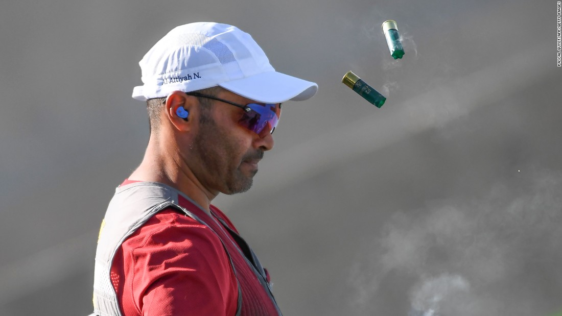 Qatar's Nasser Al-Attiya competes during the skeet  shooting qualifications.