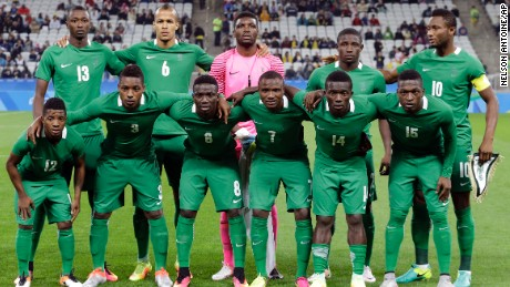 Nigeria's line up team poses for photos before a group B match of the men's Olympic football tournament between Colombia and Nigeria in Sao Paulo, Brazil, Wednesday Aug. 10, 2016. (AP Photo/Nelson Antoine)