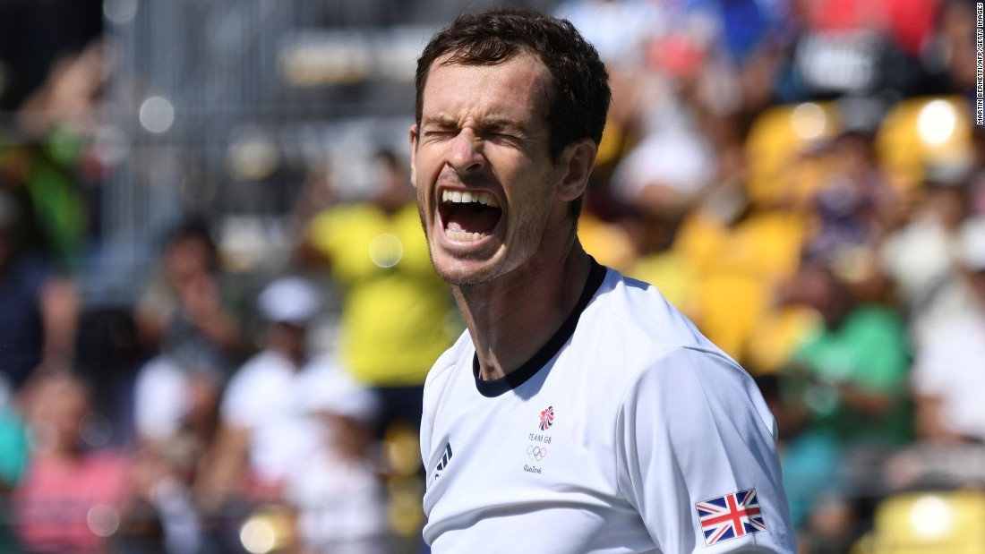 Britain's Andy Murray celebrates after beating Japan's Kei Nishikori during their singles semifinal tennis match.