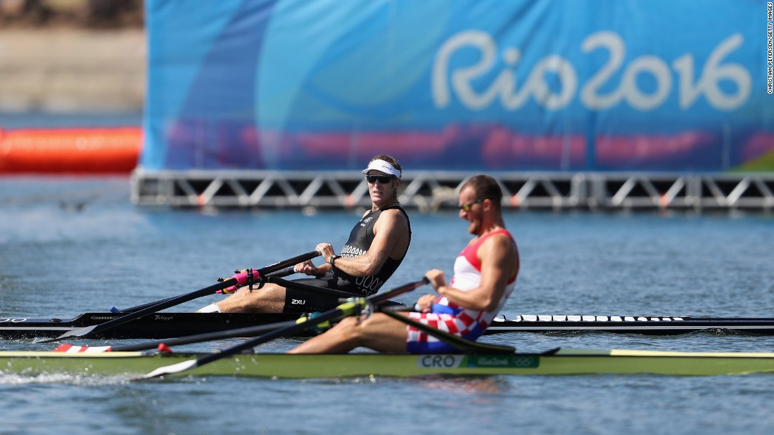 Mahe Drysdale of New Zealand, left, and Damir Martin of Croatia compete in the men's single sculls final. It was a photo finish -- both rowers clocked in with a time of 6 minutes 41.34 seconds -- but defending champion Drysdale was awarded the gold.