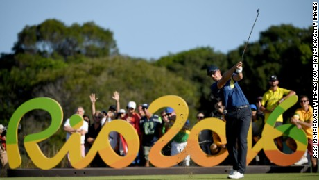 Henrik Stenson of Sweden tees off on the 16th hole during the third round at the Rio Olympics.