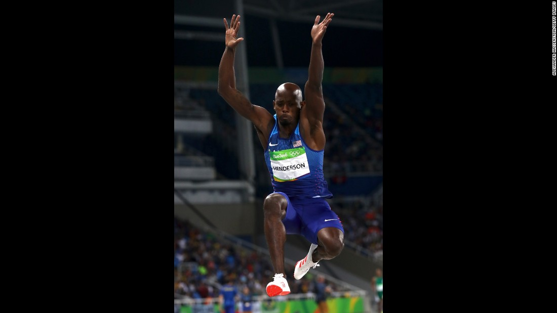 American Jeff Henderson won gold in the men's long jump final with a distance of 8.38 meters.
