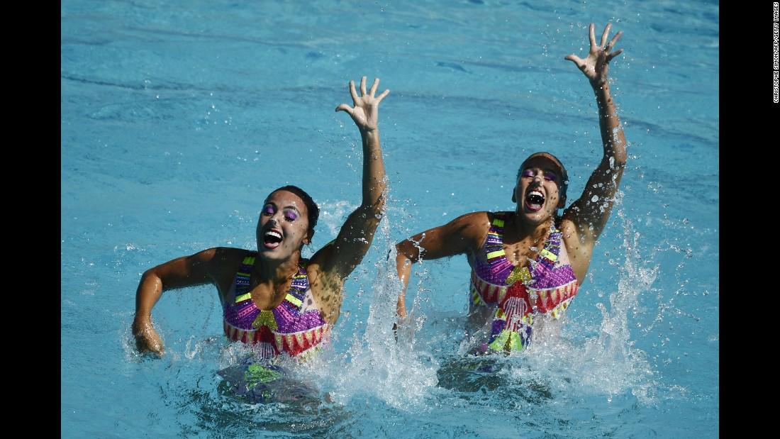 Colombian synchronized swimming duet Estefania Alvarez Piedrahita and Monica Sarai Arango Estrada perform during the Duets Free Routine preliminaries.