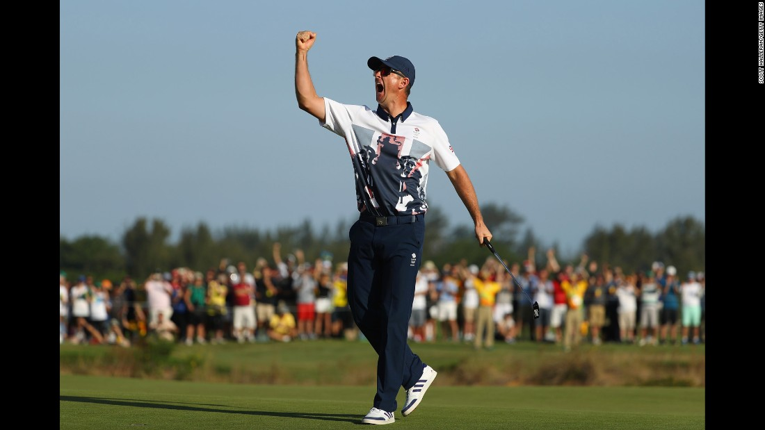 "Justin Rose of Great Britain celebrates after <a href=""http://cnn.com/2016/08/14/sport/justin-rose-olympic-golf/index.html"" target=""_blank"">winning in the final round of men's golf.</a>"