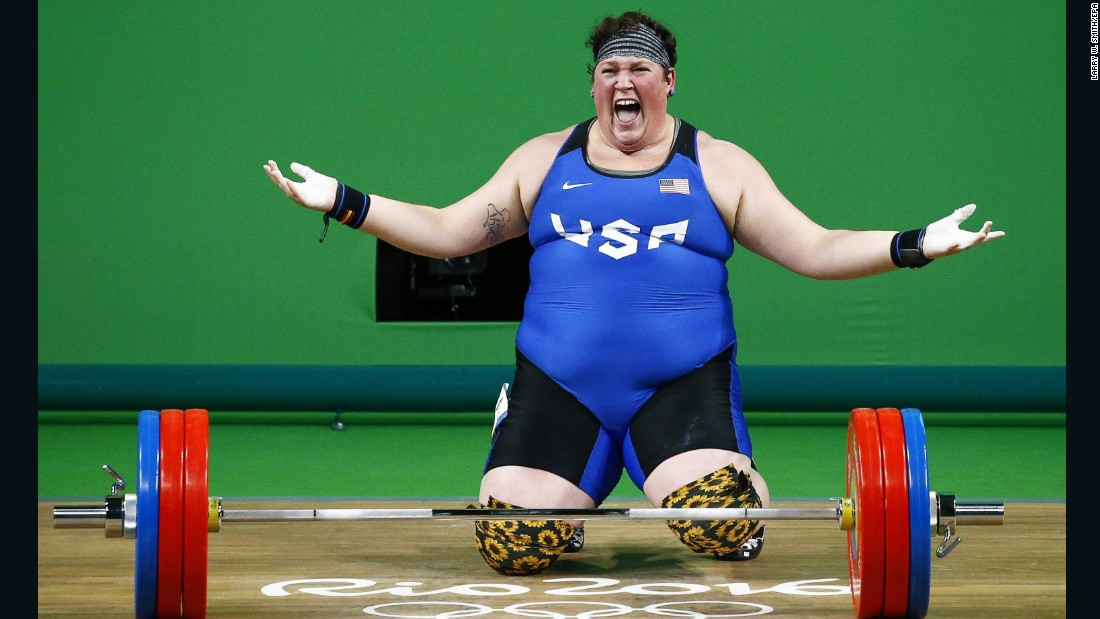 Sarah Elizabeth Robles of the US reacts after winning bronze in the women's +75kg weightlifting.