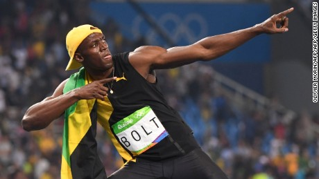 Jamaica's Usain Bolt does his 'Lightening Bolt' pose as he celebrates winning the Men's 100m Final during the athletics event at the Rio 2016 Olympic Games at the Olympic Stadium in Rio de Janeiro on August 14, 2016.   / AFP / OLIVIER MORIN        (Photo credit should read OLIVIER MORIN/AFP/Getty Images)