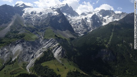 A view of La Meije, a French mountain where two climbers fell to their deaths Sunday.