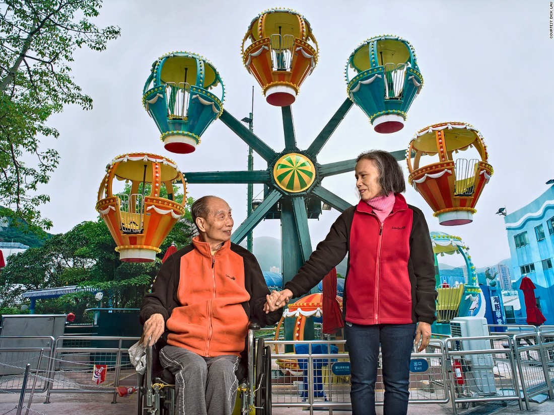 "In this moving series, Dick Lau asked bedridden elderly patients where they would go if they could explore the world again. He then printed large-scale  backdrops and staged family trips in front of them, right inside the hospital. ""They are in the last stages of life. For them, money or success no longer matter, just how much more time they can have with their family,"" says Lau."