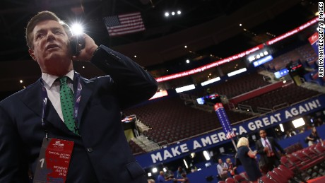 CLEVELAND, OH - JULY 17:  Paul Manafort, Campaign Manager for Donald Trump, speaks on the phone while touring the floor of the Republican National Convention at the Quicken Loans Arena as final preparations continue July 17, 2016 in Cleveland, Ohio. The Republican National Convention begins July 18.  (Photo by Win McNamee/Getty Images)