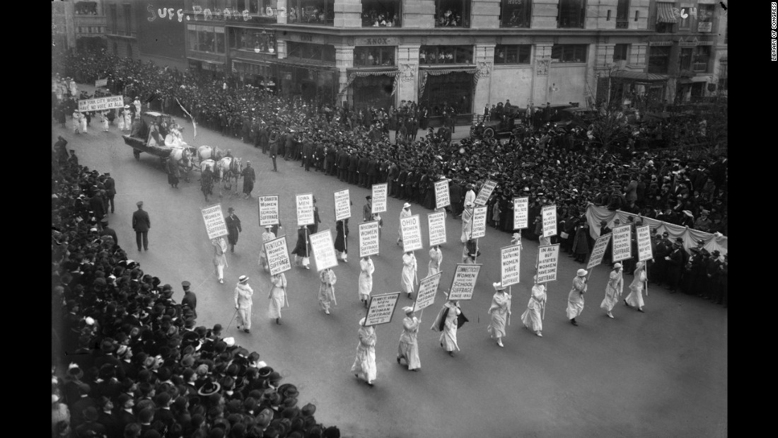 One of the tactics that suffragists used was to wear white. It made them move visible to supporters and the press. But it also was meant to symbolize the purity of their cause.