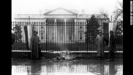 The Silent Sentinels protested in front of the White House six days a week from January 10, 1917 until June 4, 1919. They were the first organization to picket at the White House. They were often arrested for obstructing traffic and sent to jail, where they dealt with harsh living conditions, rancid food, and denial of  medical care and visitors.