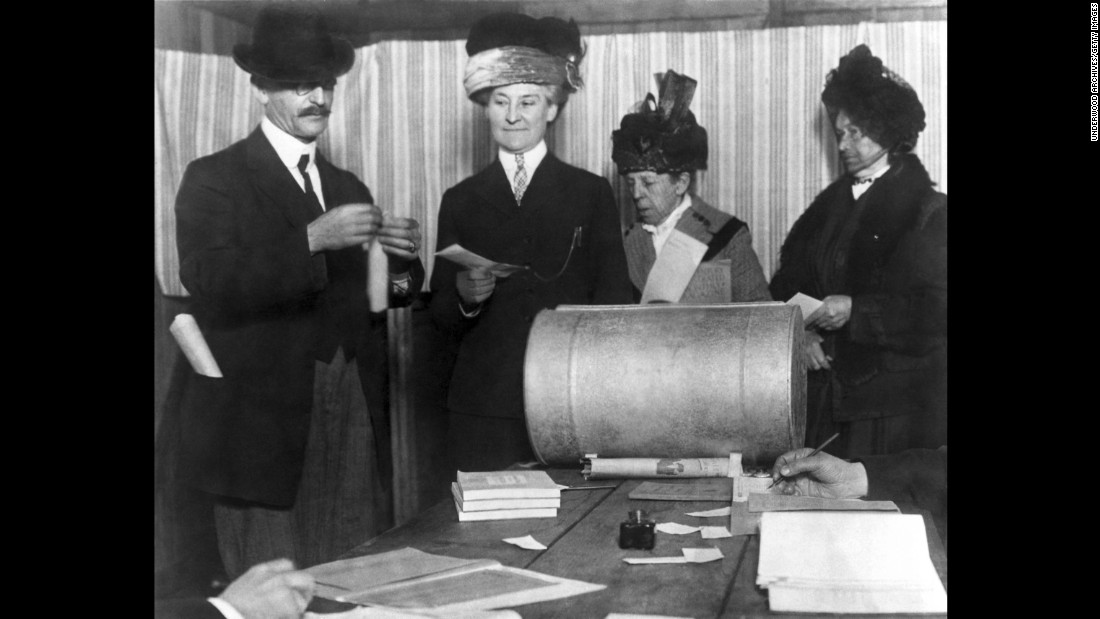 Women make history by voting in San Francisco, shortly after the 19th Amendment was adopted in 1920. Resistance to women's suffrage -- both in the United States and in other countries -- began to fade after World War I. By 1918, both U.S. political parties were pushing for women's suffrage.